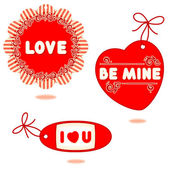 Valentine or romantic gift tags cards - rosette card Love heart shaped hang tag Be Mine personal tag shaped I Love You