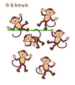 Cartoon characters - monkeys - posing For vector mode body parts are made as separate curves so you can pose your monkeys almost infinitely