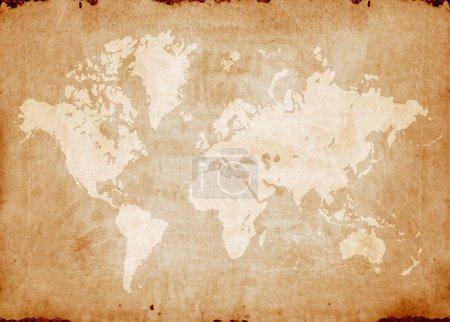 Photo pour Carte du monde Vintage, art numérique 2d - image libre de droit