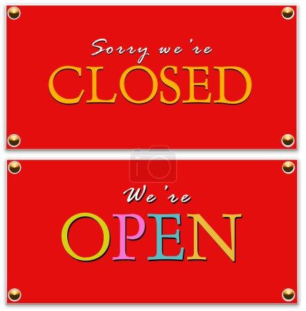 Photo pour Signe ouverts et fermés - image libre de droit