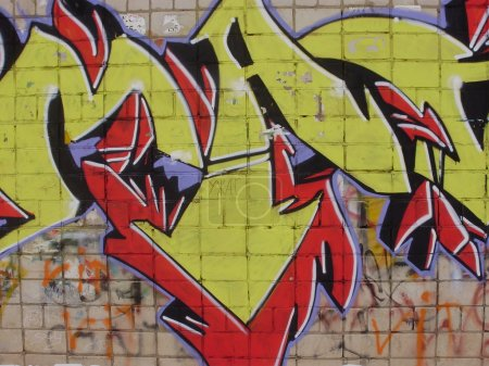 Photo pour Images graffiti sur les murs des maisons . - image libre de droit