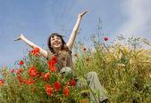 Smiling girl in field