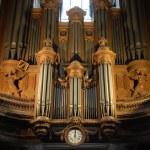 Pipe organ inside Saint Merri church in Paris, Fra...