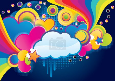 Splash collage with cloud, abstract vector illustr...