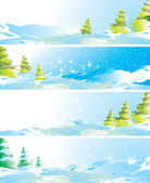 Set of four winter landscape banners