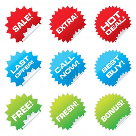 Illustration for Set of colorful vector sale stickers and labels. - Royalty Free Image