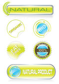 Nature stickers and buttons set vector illustration