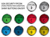 USA military FPCON shiny buttons On/Off vector illustrations