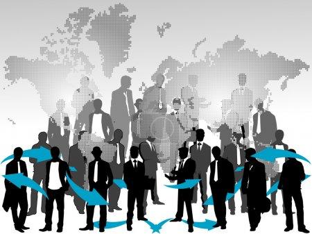 Illustration pour Équipe d'affaires en carte - image libre de droit