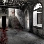 Bloody drag marks across hallway ending up in dark...
