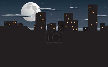 Illustration for Vector illustration of night city - Royalty Free Image