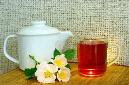 Tea with dog-rose flowers