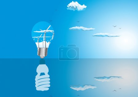 Light bulbs ecology concept with reflection...