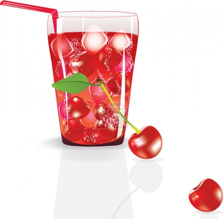 Illustration for Illustration of fresh cherry juice with cherry. - Royalty Free Image