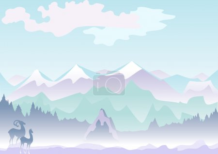 Illustration for This is a mountain veiw with wild goats - Royalty Free Image