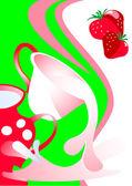 Cap of milk strawberry