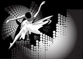 Figure of the ballerina on an abstract black-and-white background