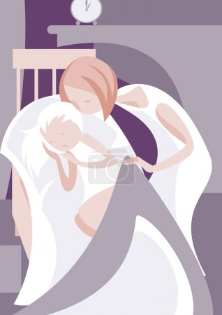 Illustration for A young woman conceals the sleeping daughter - Royalty Free Image