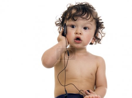 Baby with MP3 player.