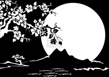 Illustration pour Paysage nocturne. Fleurs d'une cerise orientale contre la lune . - image libre de droit