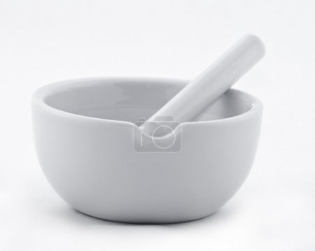 Image of a ceramic grinding mortar isolated against a white background.