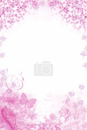 Pink floral Background with butterfly