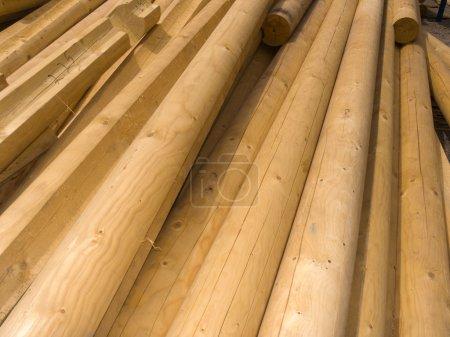 Round wooden logs