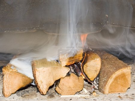 Fire wood burn in a fireplace