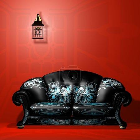 Photo pour Un intérieur d'une salle avec un beau canapé de Bourgogne. 3D max - image libre de droit