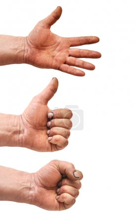 Set of gesturing dirty hands