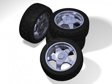 Four wheels with sport tyres