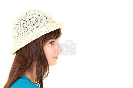 Teenage girl in hut