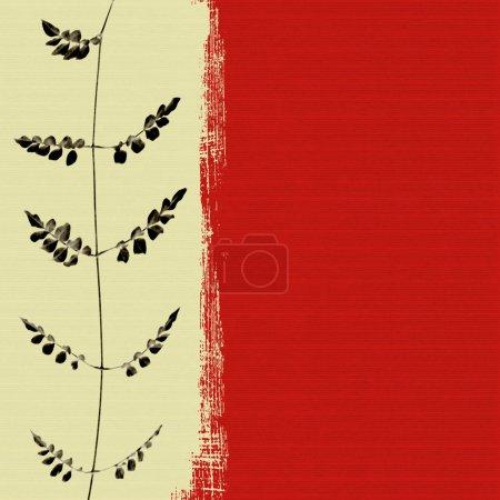 Photo pour Feuille noire sur fond de boîte rouge texturé - image libre de droit