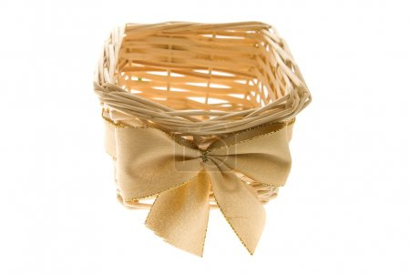 Basket for a gift decorated with a bow