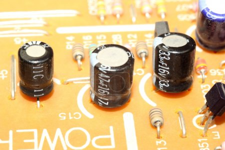 Photo for Capacitors on printed circuit board - Royalty Free Image