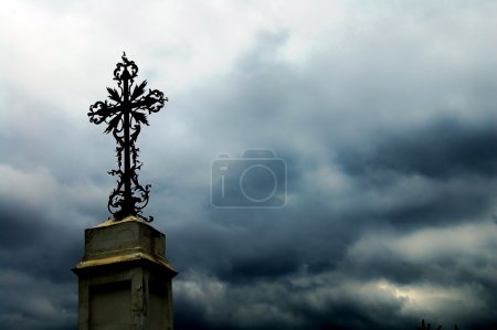 Photo for Dark sky with cross - Royalty Free Image