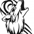 Howling wolf. Vinyl-ready vector image.