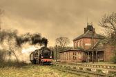 """Постер, картина, фотообои """"старый ретро паровой поезд"""""""