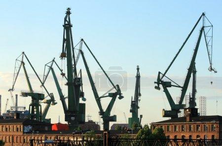Cranes at historical shipyard in Gdansk,