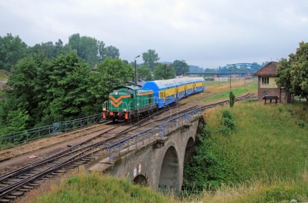 Passenger train leaving the station