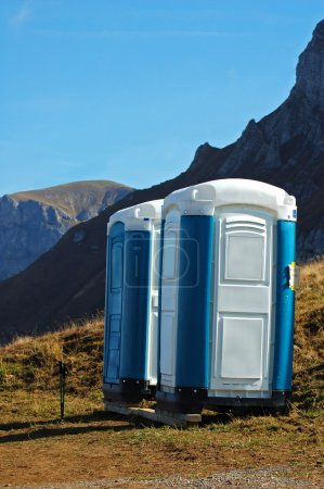 Photo for Portable toilet over 7000 feet on Axalp in Switzerland - Royalty Free Image