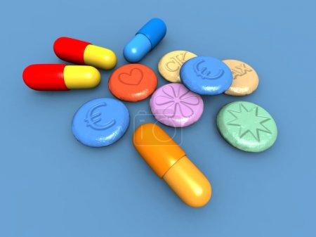 Photo pour Une 3d render de quelques pilules d'ecstasy coloré - image libre de droit