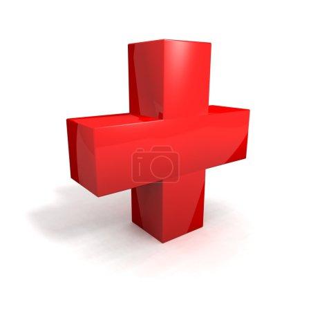 Photo pour Un rendu 3d d'une croix rouge sur un fond blanc - image libre de droit