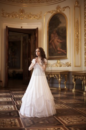 Photo for Romantic portrait of young beautiful lady in palace - Royalty Free Image