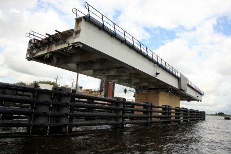 Swing bridge. Netherlands, Dutch canal.