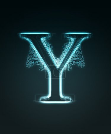 Glowing font. Shiny letter Y.