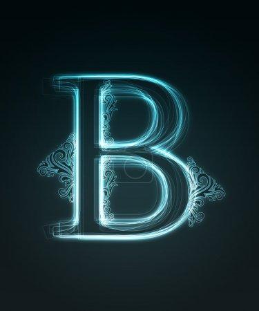 Fuente brillante. Letra brillante B