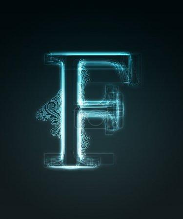 Fonte lumineuse. Lettre brillante F