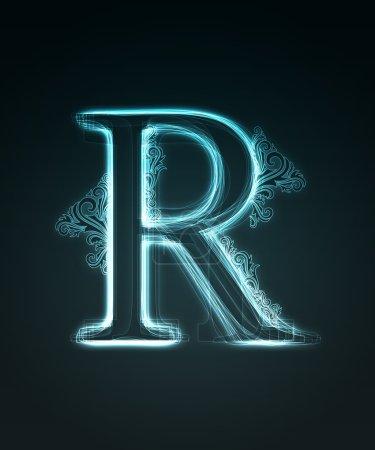 Fonte lumineuse. Lettre brillante R .