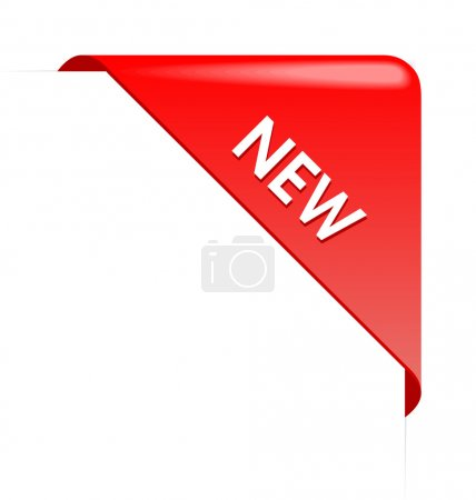 New red corner business ribbon on white background...